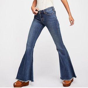 Free People Raw Hem Super Flare Jeans